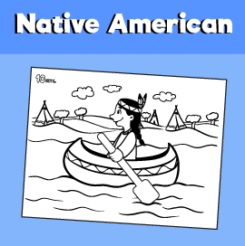 Native American Coloring Page for Kids
