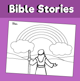 Noah and the Rainbow Coloring Page