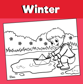 Playing in Puddles Coloring Page