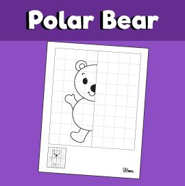 Polar Bear Symmetry Drawing Worksheet