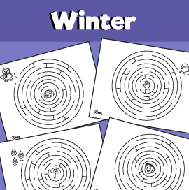 4 Winter Mazes Worksheets