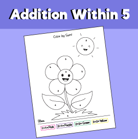 Addition within 5 - Color the Flower by Sum