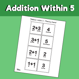 Addition within 5 - Memory Game