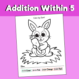 Addition within 5 - Rabbit Color by Sum