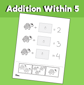 Addition within 5 - Turtle Cut & Paste