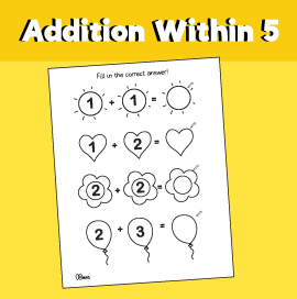 Addition within 5 Writing Worksheet