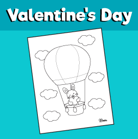 Bunny in a Hot Air Balloon Coloring Page
