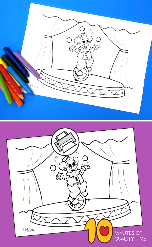 Circus Clown Juggling Balls Coloring Page 10 Minutes Of Quality Time