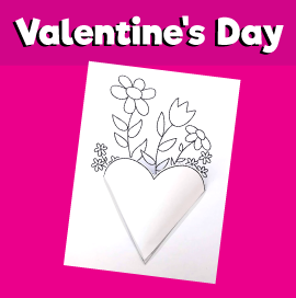 Flowers in 3D Heart-Shaped Vase - Valentine's Day Craft