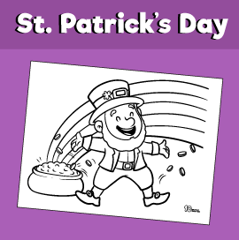 Leprechaun With Rainbow Coloring Page