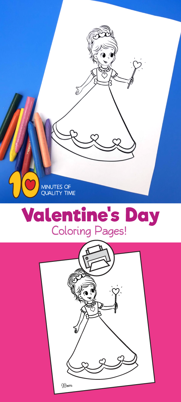 Princess valentines day coloring pages