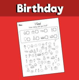 Birthday I Spy Printable
