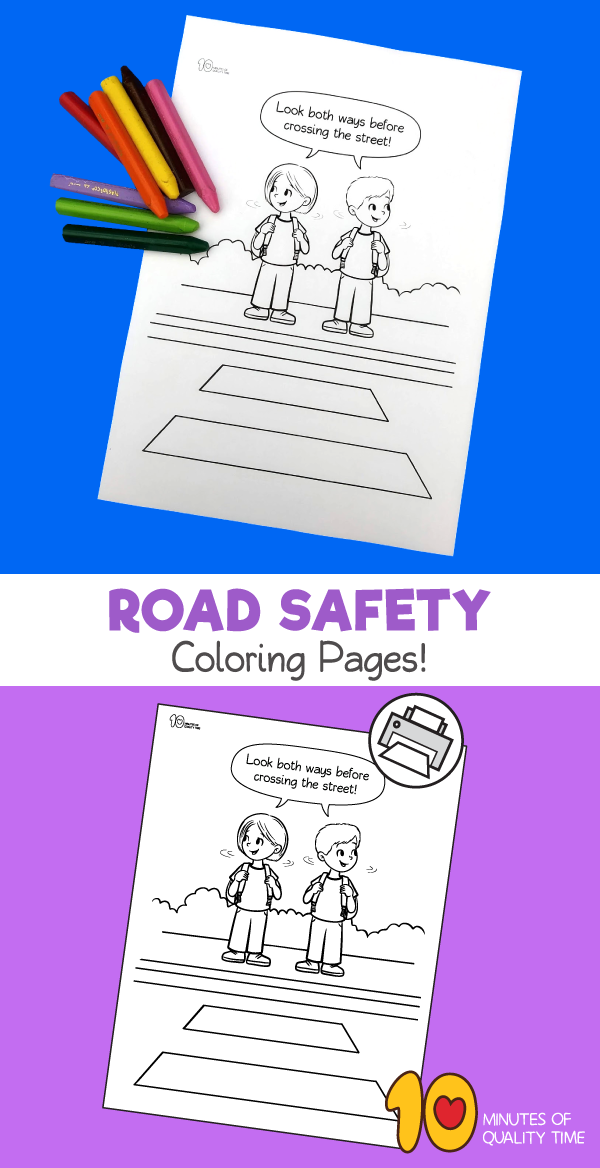 road safety coloring sheets - crossing the street