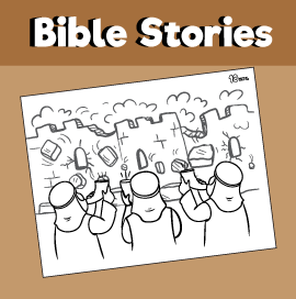 Joshua and the Wall of Jericho Coloring Page