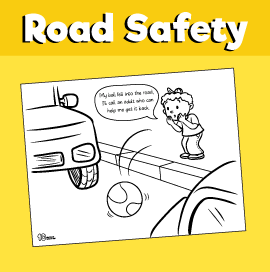 Road Safety Ball on the Road Coloring Page
