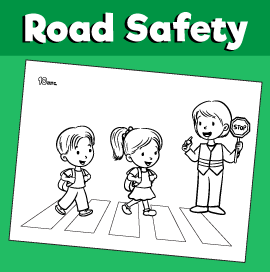Road Safety Coloring Page - Use Crosswalks