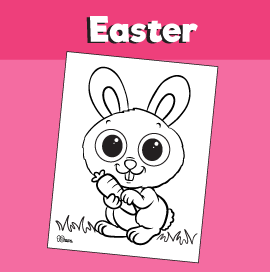 Bunny With Carrot Coloring Page