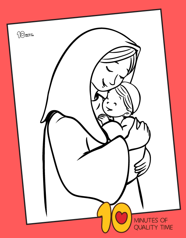 mary and baby jesus drawing