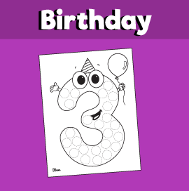 3 Years Old Birthday Do a Dot