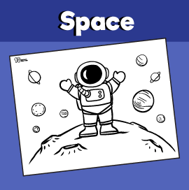Astronaut on the Moon Coloring Page