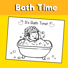 Bath Time Coloring Page
