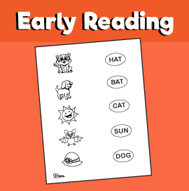 Early Reading - Three Letter Word Matching Worksheet