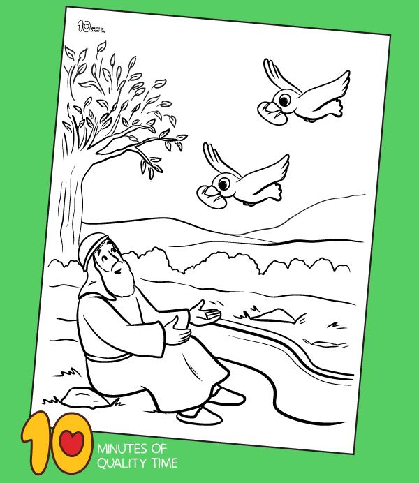 elijah and the ravens colouring page