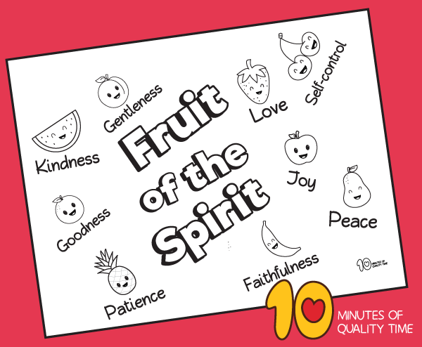 Fruit of the Spirit Coloring Page – 10 Minutes of Quality Time
