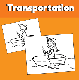 Rowing a Boat Coloring Page
