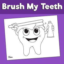 Tooth Brushing Coloring Page