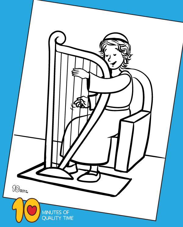 david playing the harp coloring page