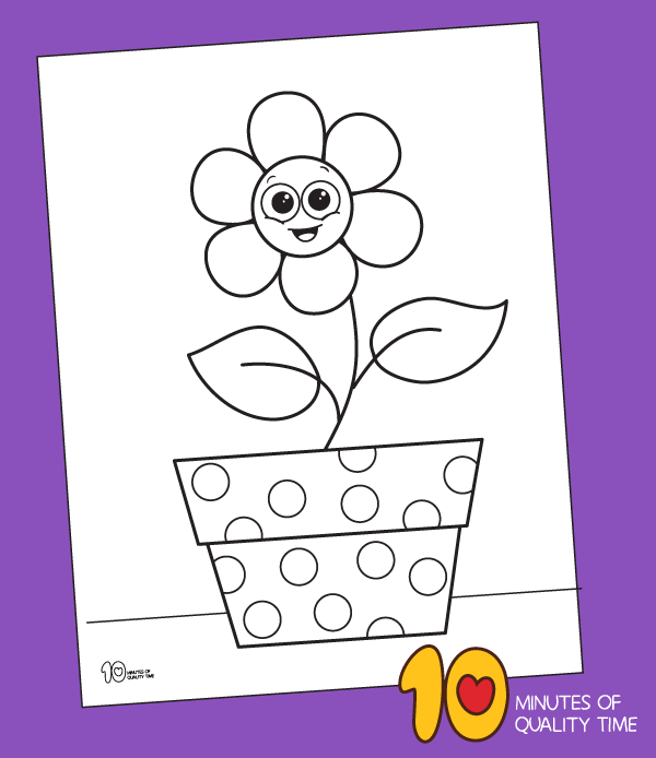 colouring page of a flower pot