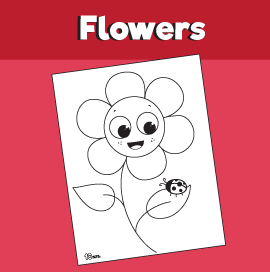 Flower and Ladybug Coloring Page