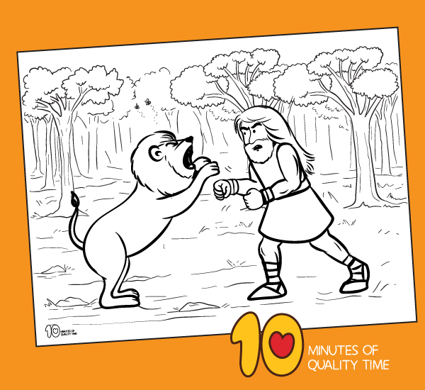 samson fighting lion coloring pages