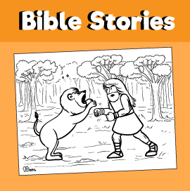 Samson and the Lion Coloring Page