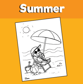 Sitting in a Beach Chair Under an Umbrella Coloring Page