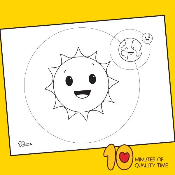 Sun Earth And Moon Coloring Page 10 Minutes Of Quality Time