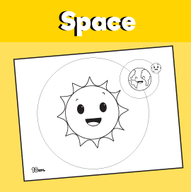 Sun Earth and Moon Coloring Page
