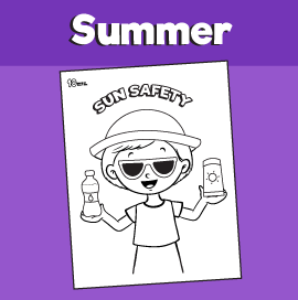 Sun Safety Coloring Page