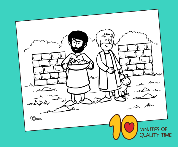 Cain and Abel Bible Coloring Page – 10 Minutes of Quality Time