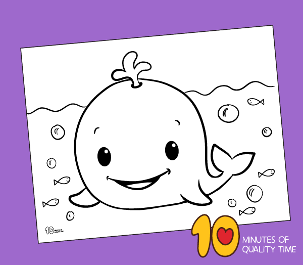 Cute Whale Coloring Page – 10 Minutes Of Quality Time