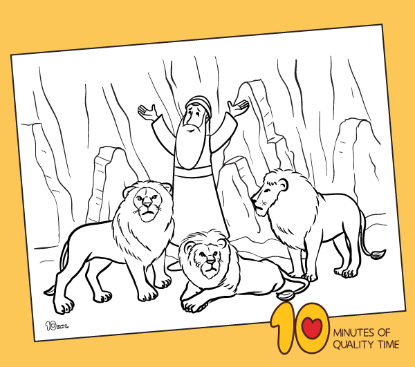 Daniel in the Lions' Den Coloring Page - 10 Minutes of ...
