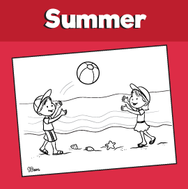 Kids Playing Ball on the Beach Coloring Page