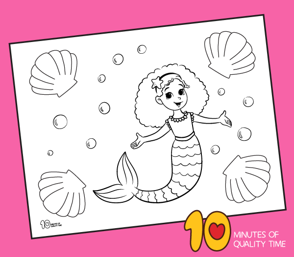 Mermaid and Seashells Coloring