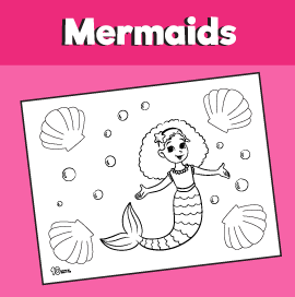 Mermaid and Seashells Coloring Page