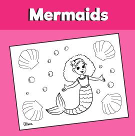 Mermaid and Seashells Coloring Page