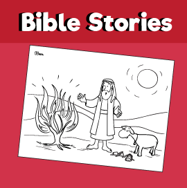 Moses and the Burning Bush - Bible Coloring Pages