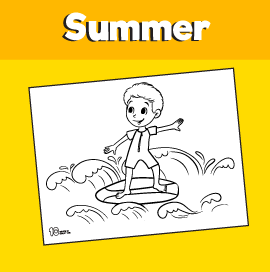 Surfer Boy Coloring Page