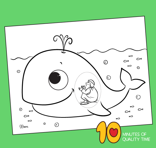 Jonah And The Great Fish Coloring Page 10 Minutes Of