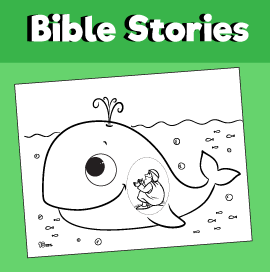 Jonah and the Great Fish Coloring Page